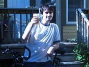 Me with my good ol clunky bike and my pint of Hitachino.
