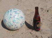 Lion Stout next to one very over-inflated volleyball. I had bruises all up and down my arms from that damn rock!