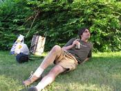 Here&#146s me lounging on the front lawn, waiting for my veggie-dogs to cook on the grill and sipping on my Lia Fail Beer
