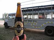 "Harviestoun Brewery ""Old Engine Oil"". In the background is the Bus we took to the drive in."
