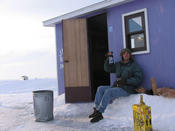 This is me enjoying my forty of beer outside my high class accommodations.