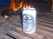 Campfires always seem to call for beer in a can