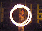 Another photo of me spinning the fire-chains. I managed not to start myself on fire this time.