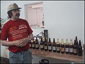Randy discussing the finer points of beer while offering samples of their 15 or so varieties