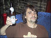 here&#146s me on the evening that I drank Irene&#146s Beer. Note the Handlebar muscache!