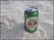 The XX Lager Especial that Michelle bought me on the beach in Playa del Carmen, Mexico