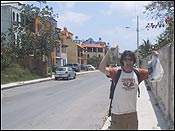 here me walking down a local street in playa, after buying some bananas and beans.